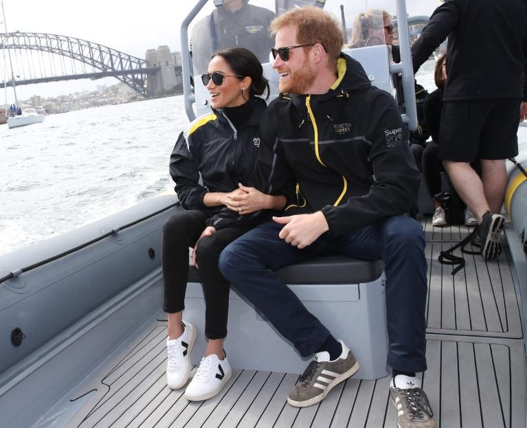 Meghan Markle wearing Veja sneakers in Sydney harbour