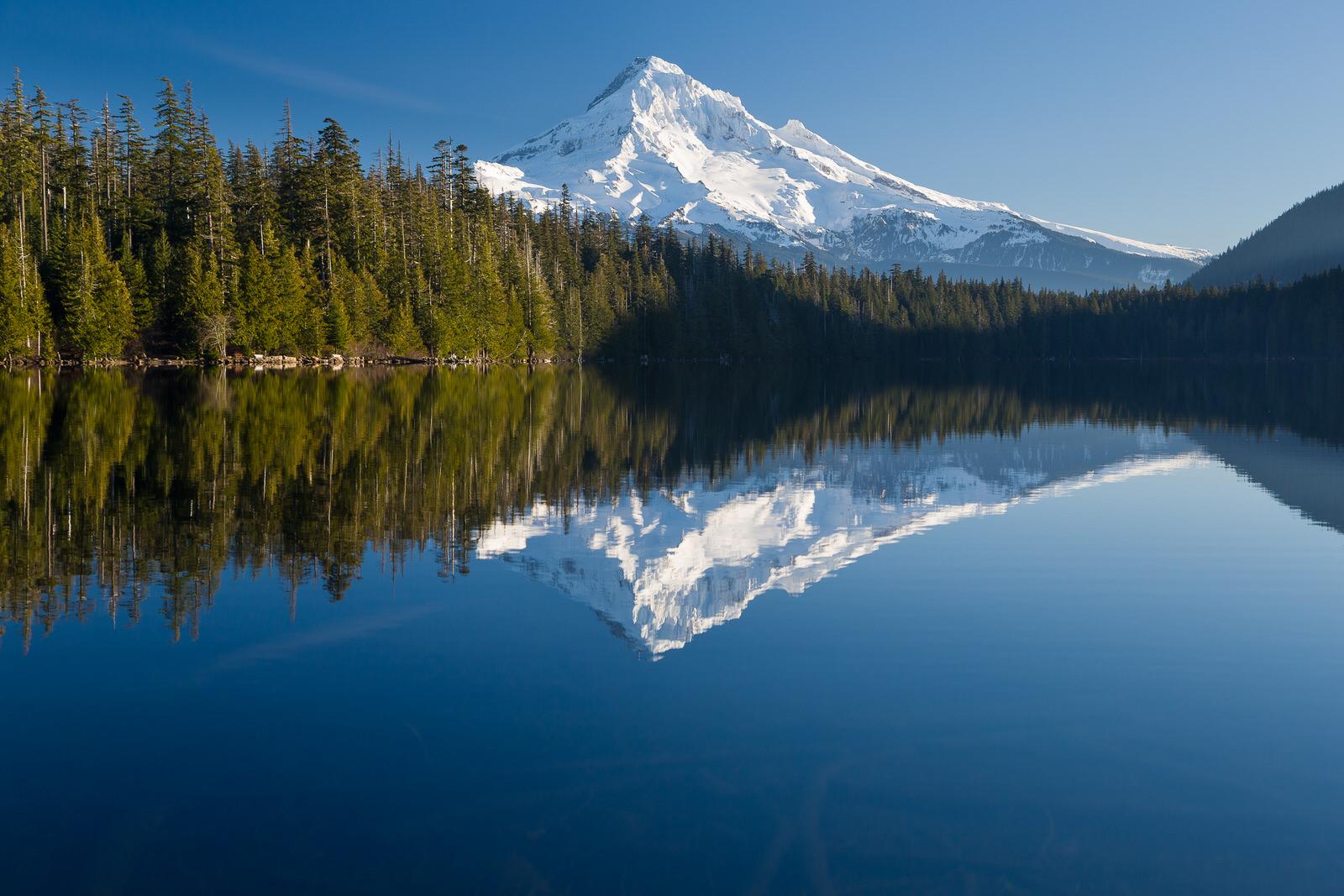 Mirror reflection of Mt. Hood at Lost Lake Resort