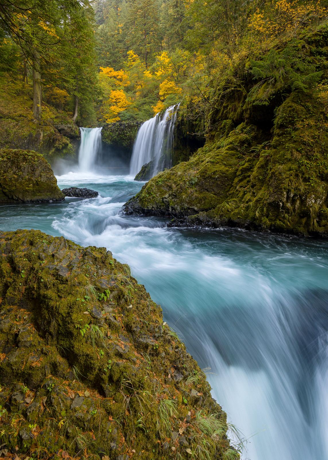 Fall colors at Spirit Falls (alt. vertical)