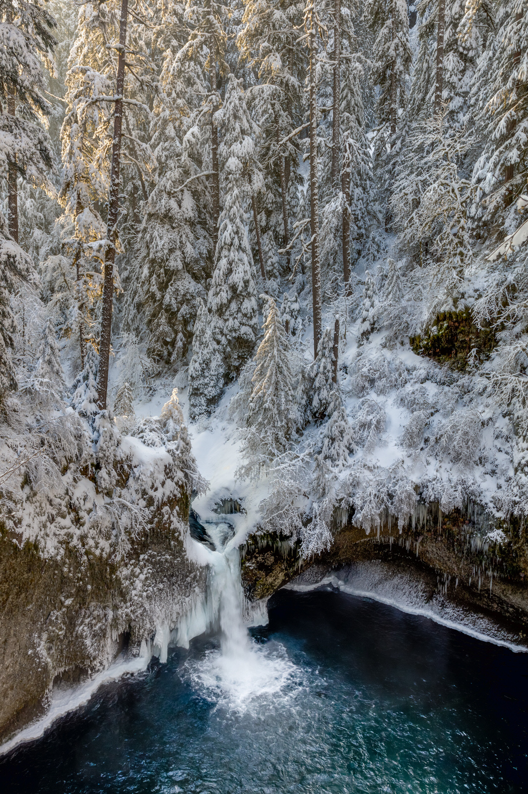 First light at Punchbowl Falls in winter