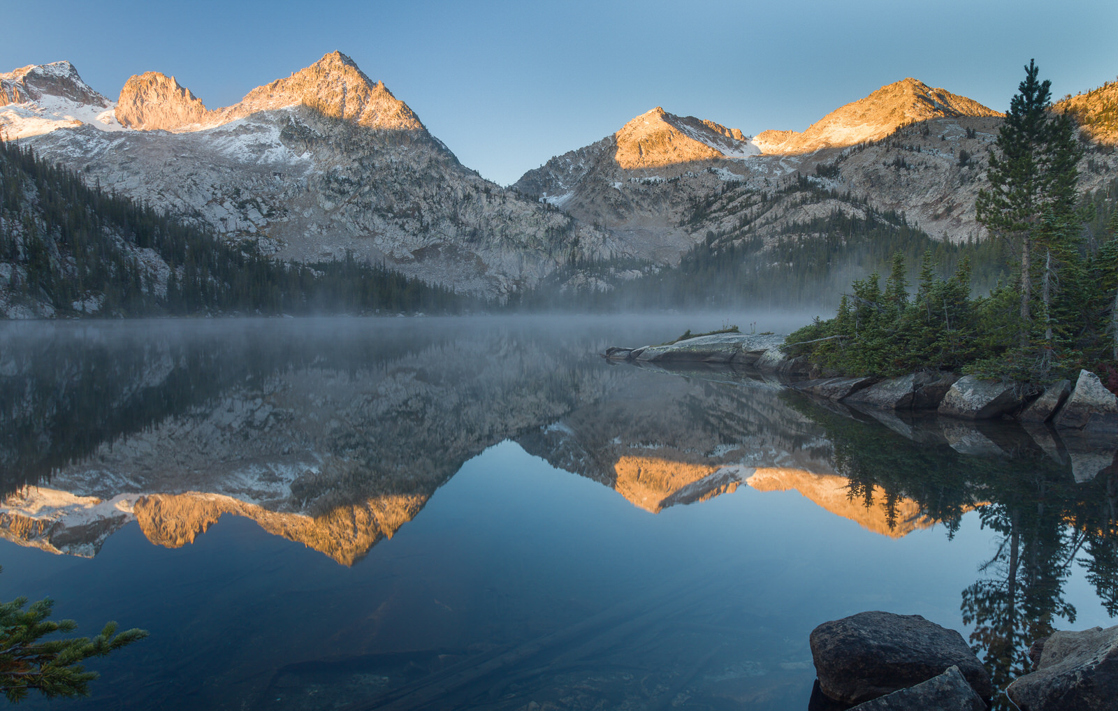 Sunrise at Toxaway Lake in the Sawtooths