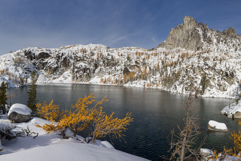 First snow in the Enchantments at Lake Viviane