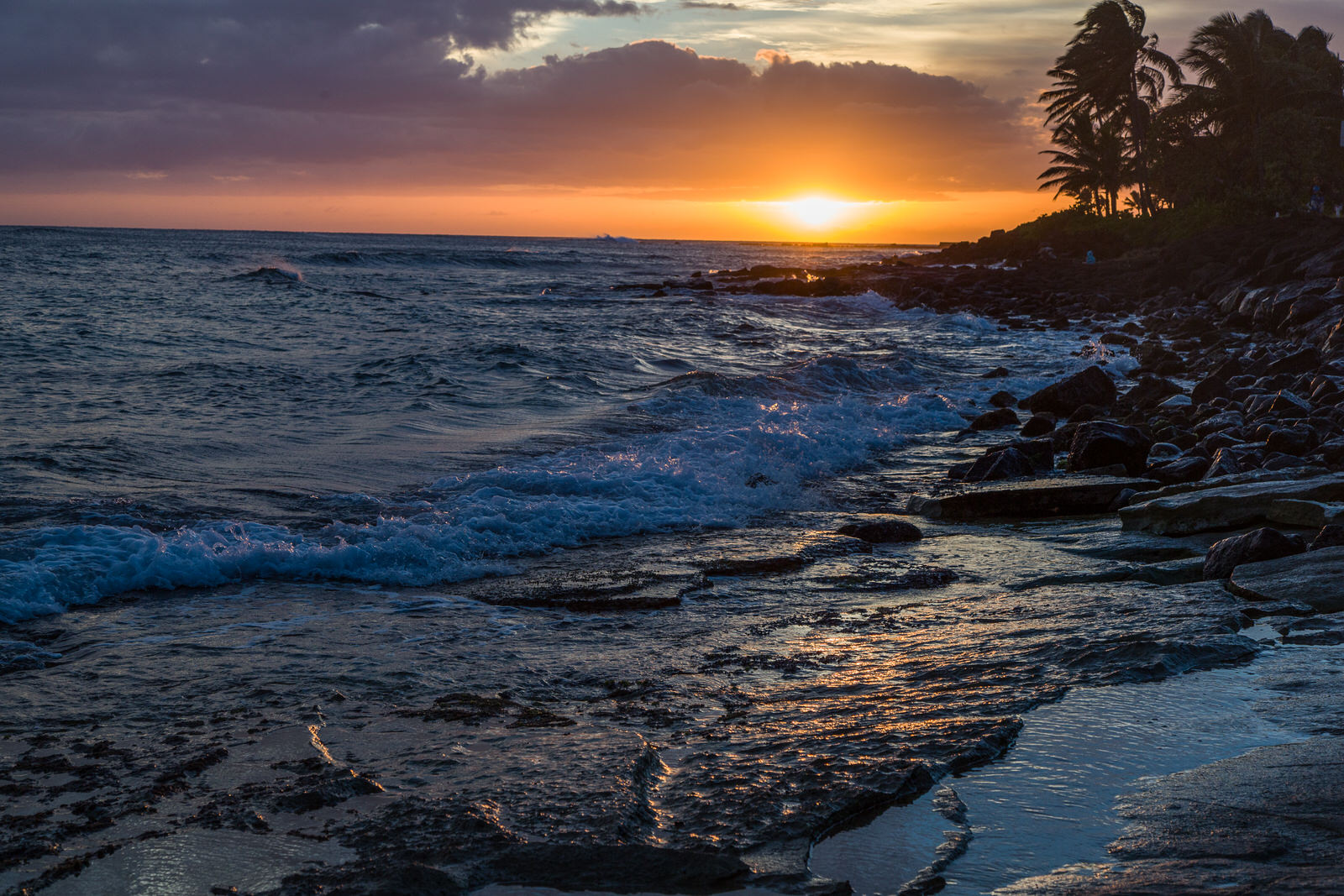 Classic Hawaiian sunset on Kauai