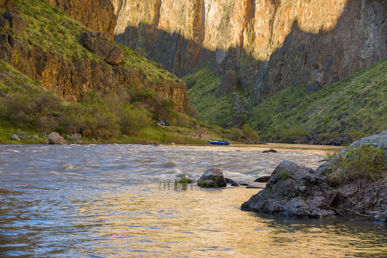 Morning light at Cliffside camp on the Owyhee River