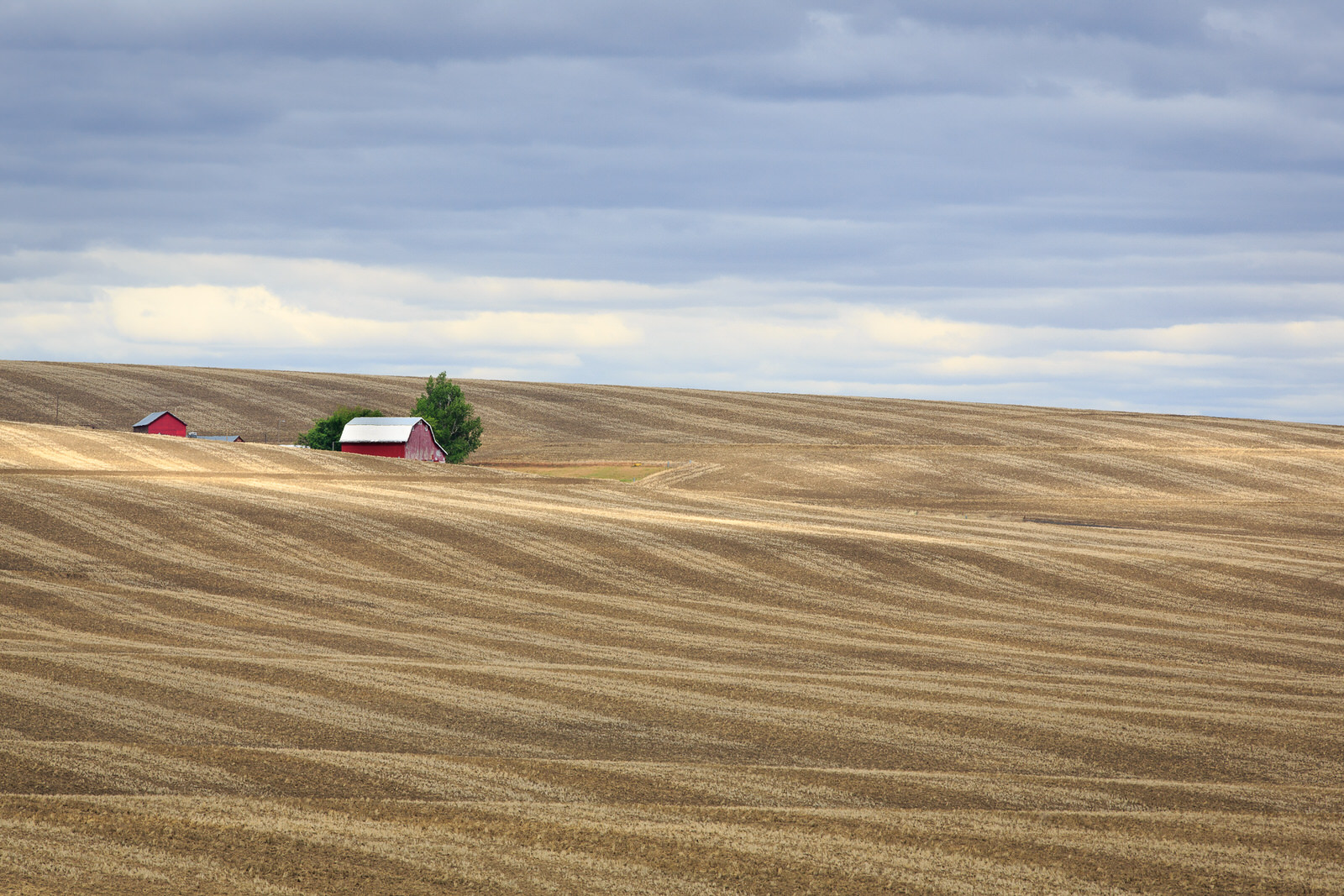 Red barn after the harvest in eastern Oregon
