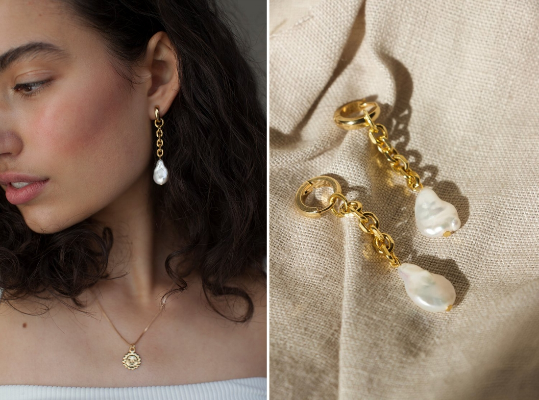 Fresh Pearl Chain Earrings
