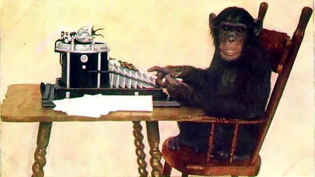 typing chimpanzee