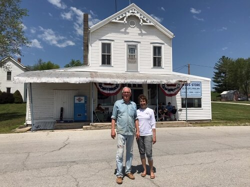 Dan and Connie Burkhardt in front of the historic Peers Store in Marthasville, MO.