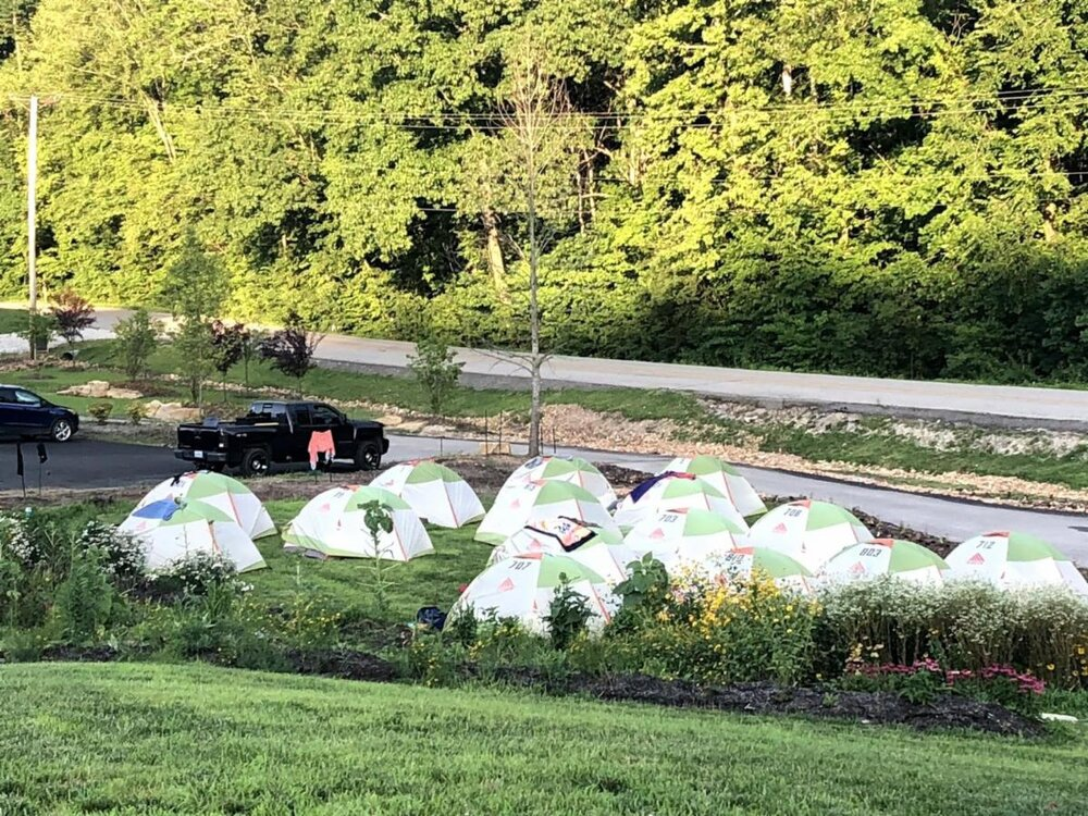 The grounds of Sunflower Hill Farm with bicyclists' tents ready for another day of riding on the Katy Trail.