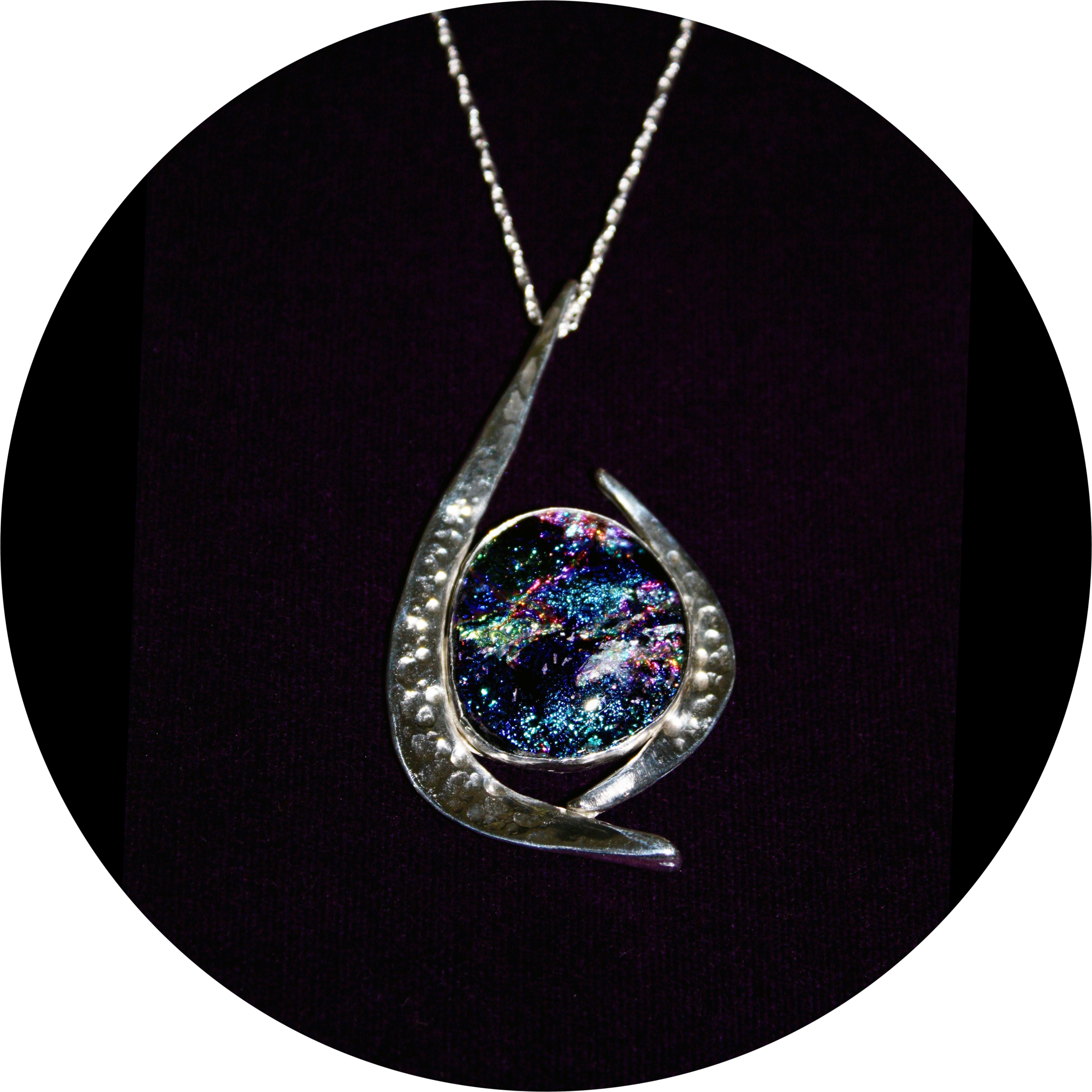 Dichroic Glass Hammered Pendant