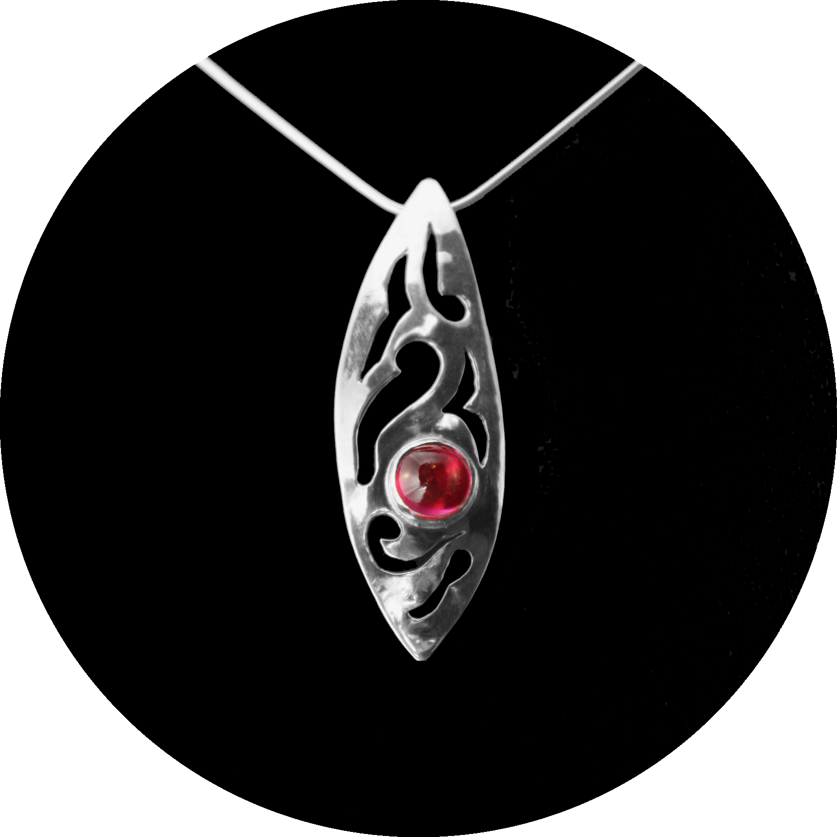 Abstract Cutout Pendant with Lab-Created Ruby