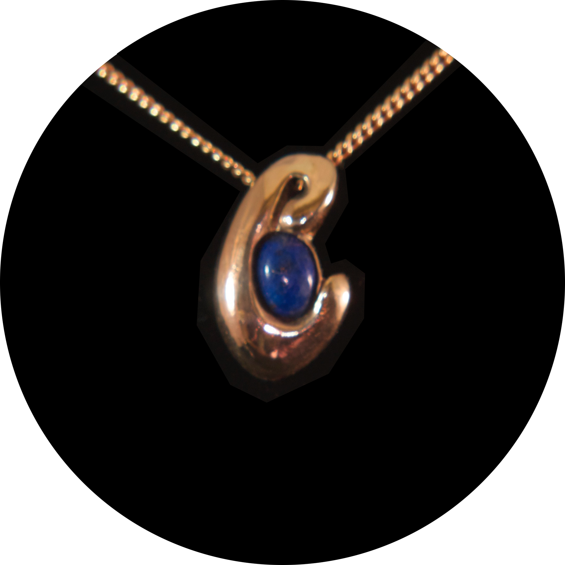 Initial in Gold with Lapis Lazuli