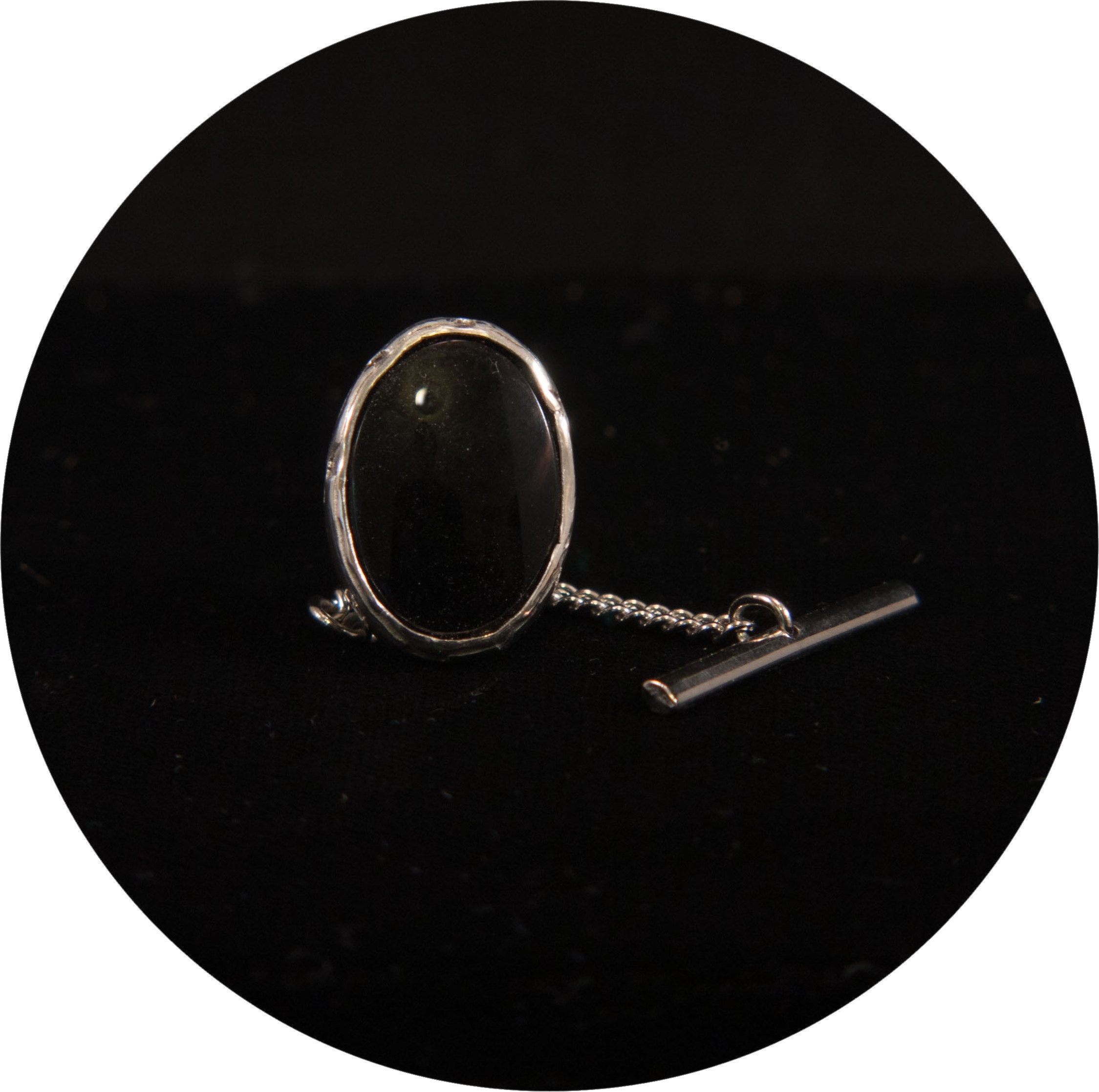 Silver Tietack with Black Chalcedony & Secret Message