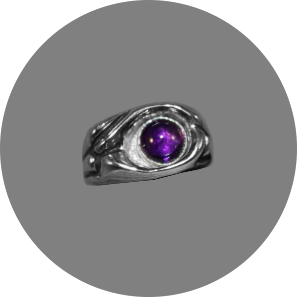 Abstract Silver Ring with Amethyst