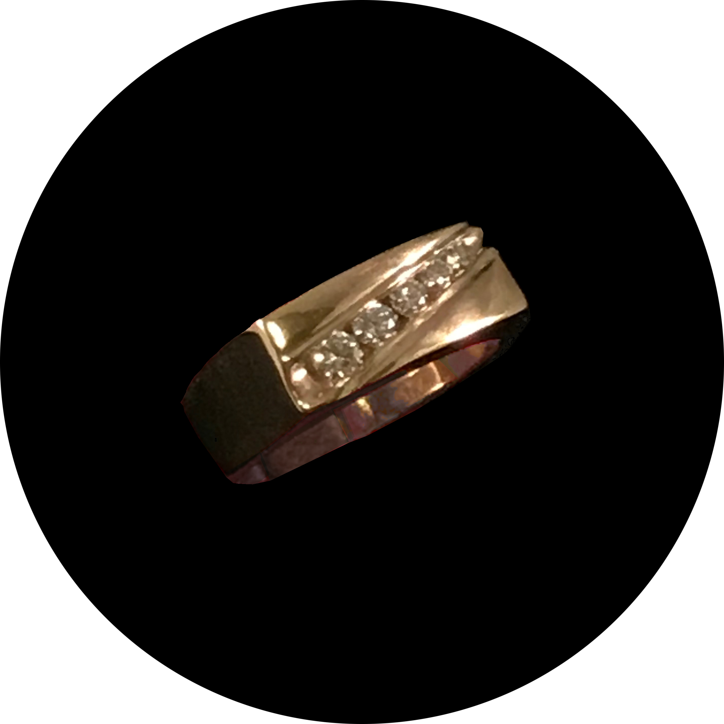 14K Yellow Gold Wedding Ring with 5 Diamonds