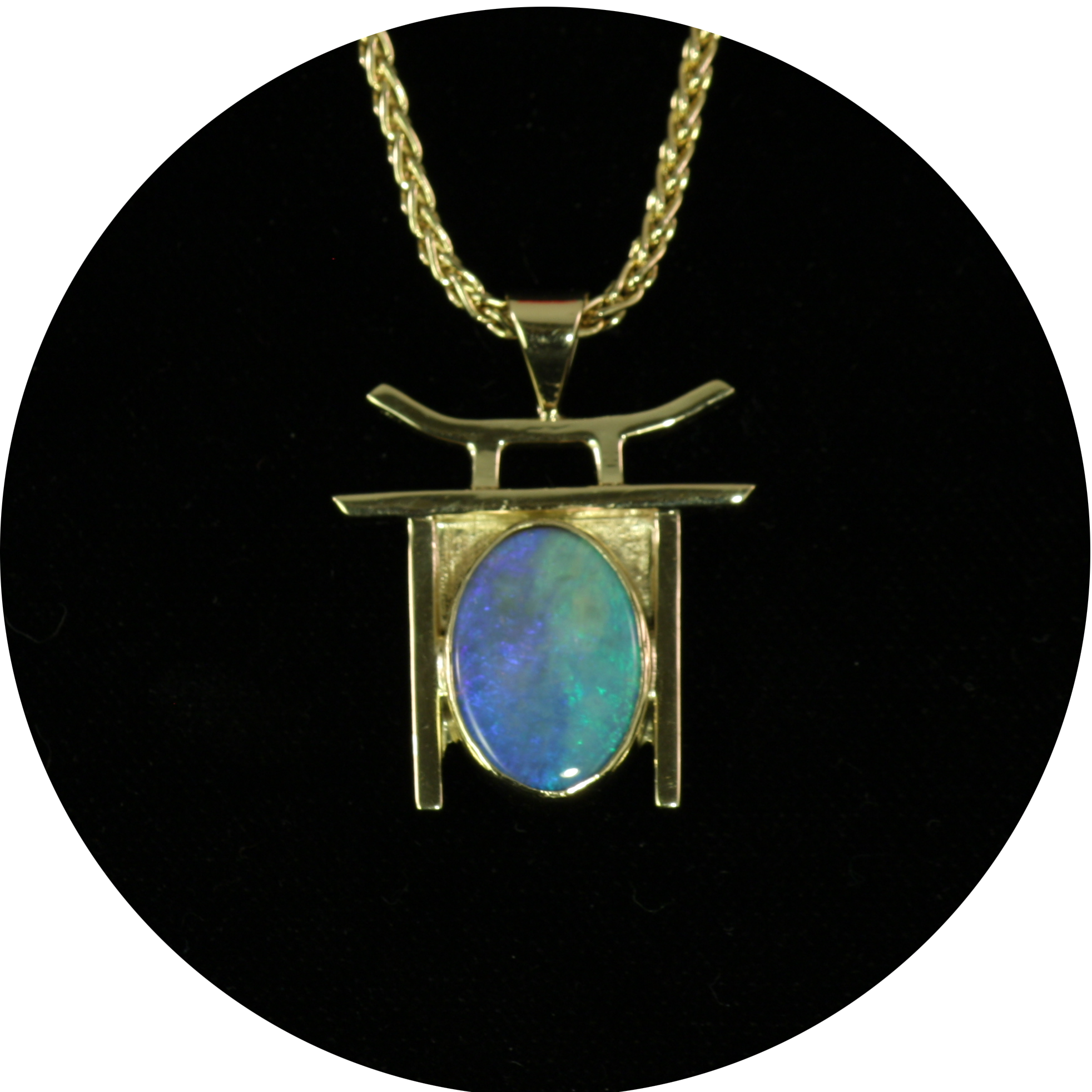 Opal and Gold Temple Pendant