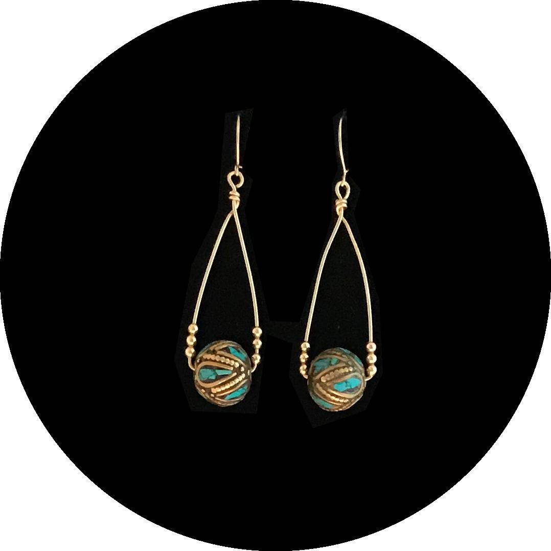 Turquoise Inlay Bead Earrings
