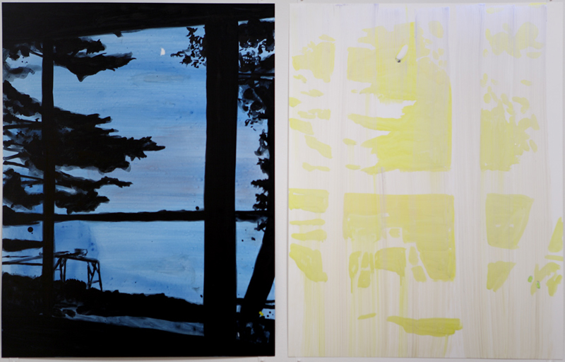 "Painted Porch, 2008, acrylic on Yupo, 2 @ 24"" x 18"""