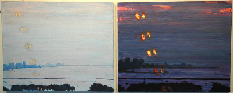 "untitled for dools (ferris wheels), 2007, acrylic on canvas, 2 @ 17"" x 20"""