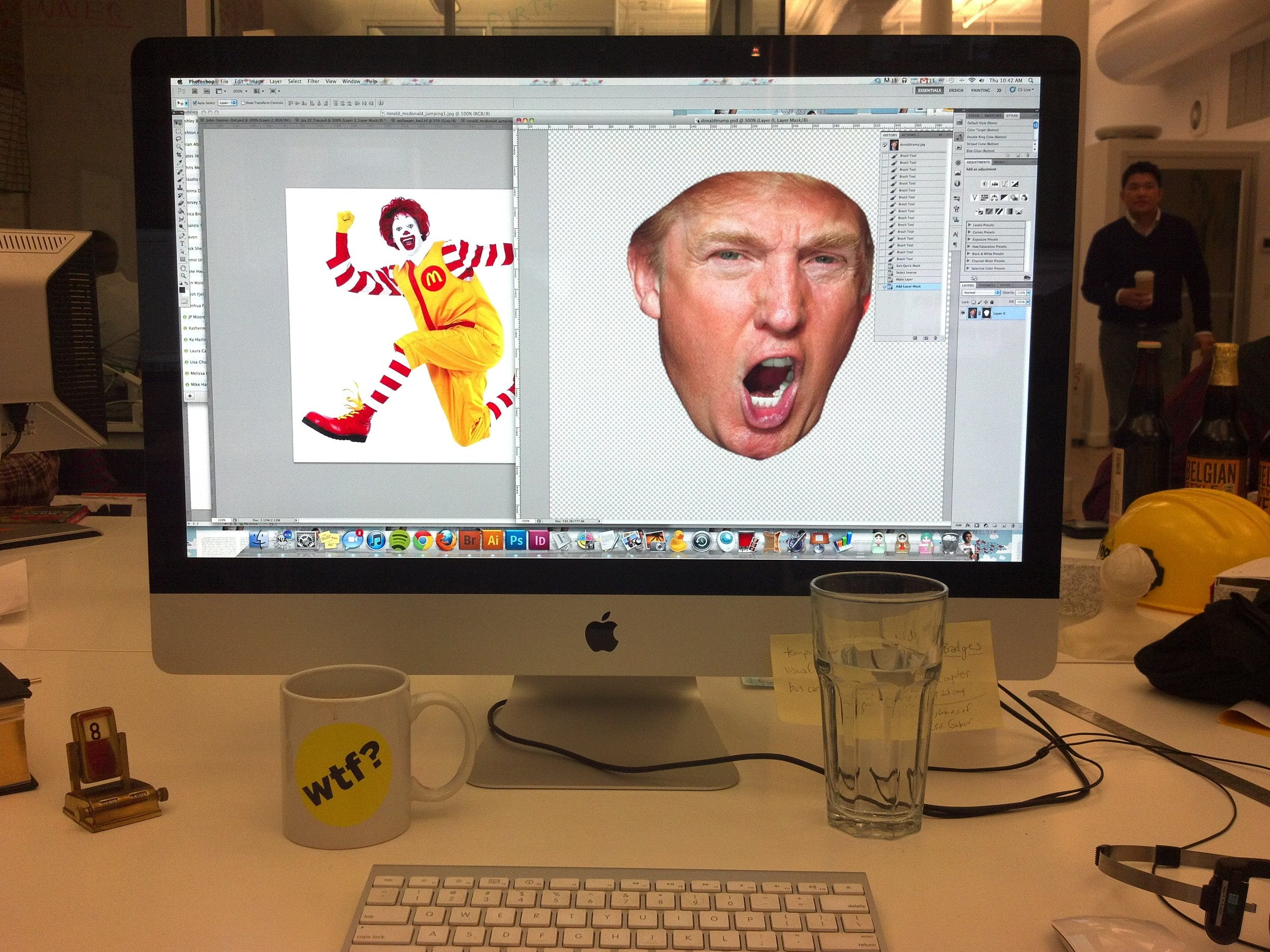 This is for a post I created with the creative genius  Kelly Sharp .  The Celebrity Mashup Photoshop Game  takes the first name of a celebrity and combines it with the last name of another. I Photoshopped the results of some of the winners; in the example above, we got Ronald McDonald Trump.