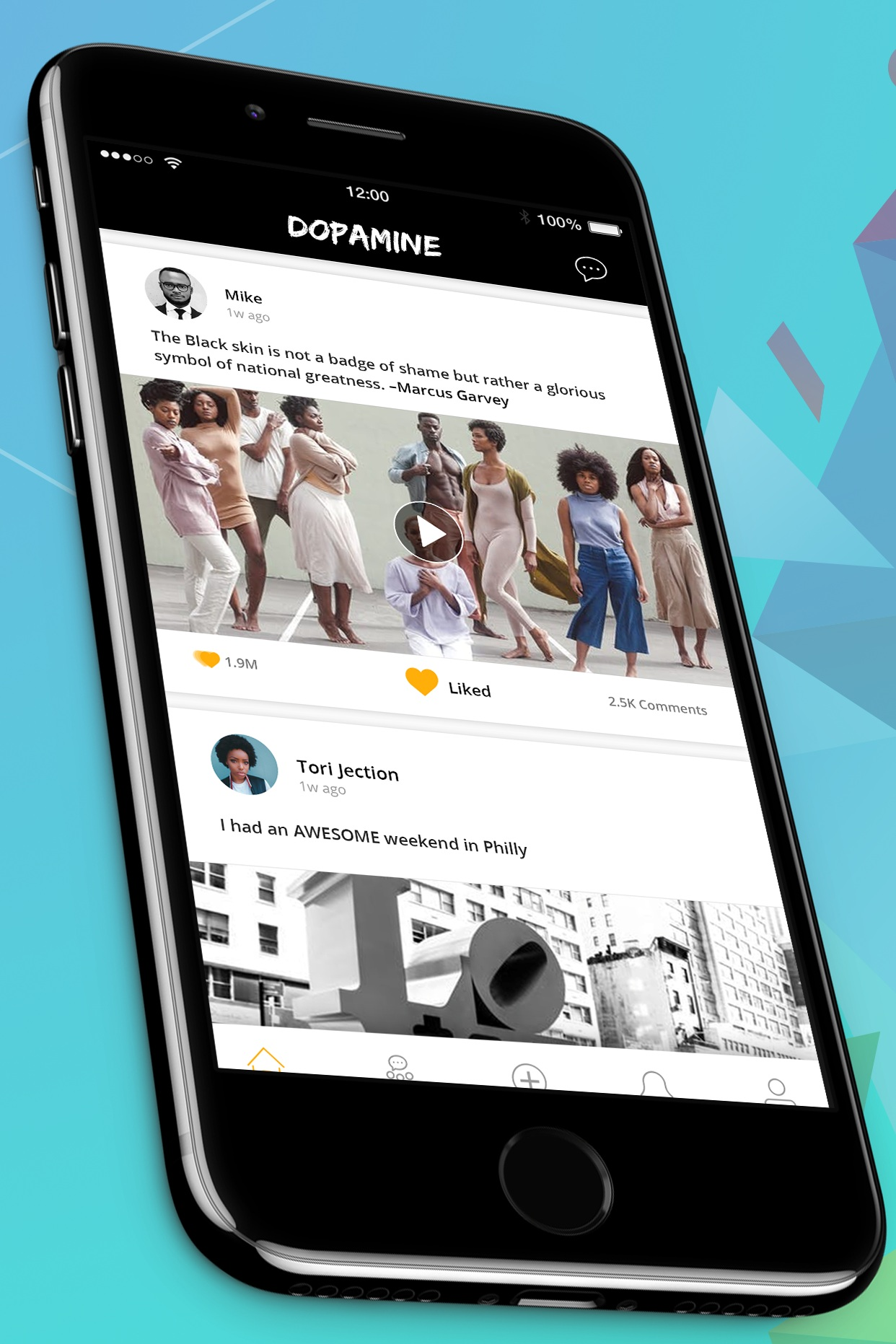 "Connect With Your Friends - On The Dopamine App, you can create post and share them with your friends. Friends are able to ""like"" and ""comment"" on each post you have share.Download Dopamine Now"