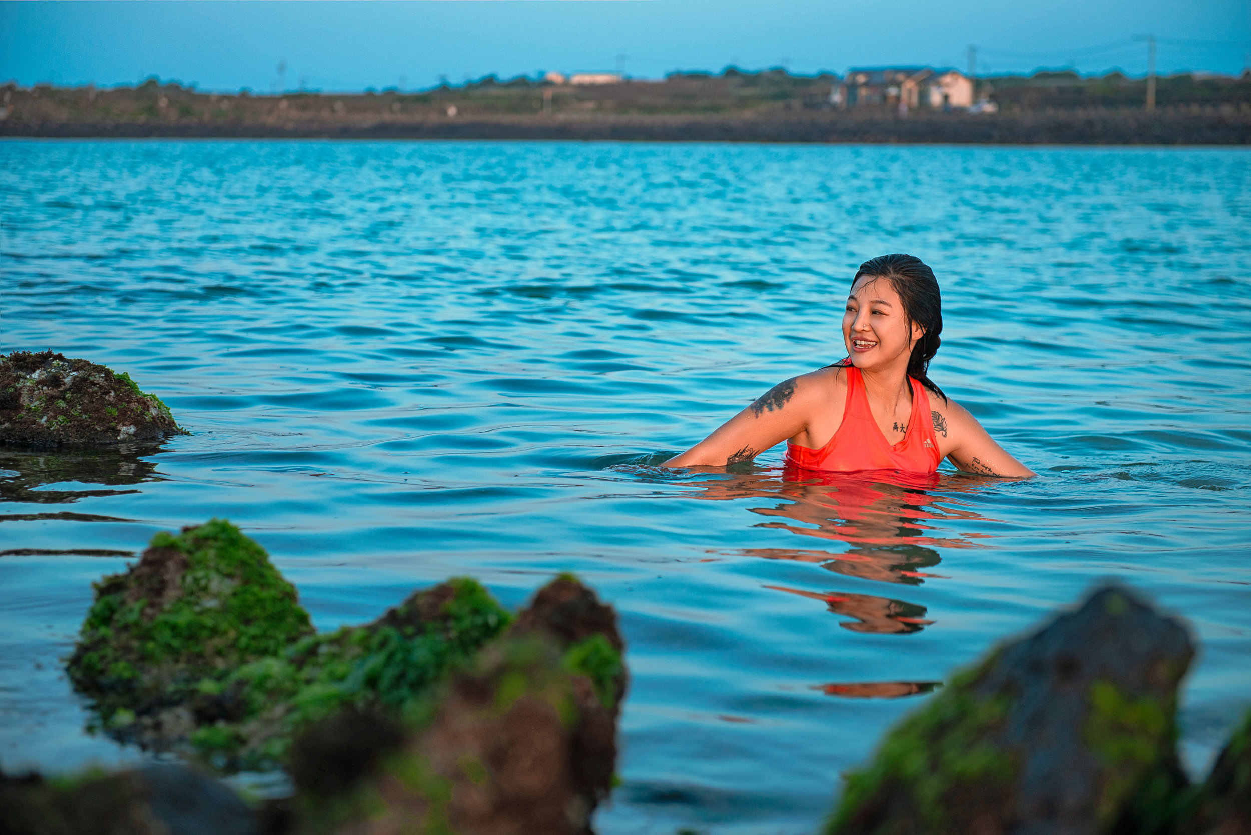 Sanga swimming at golden hour. She came from Paju, South Korea to work on Udo Island.
