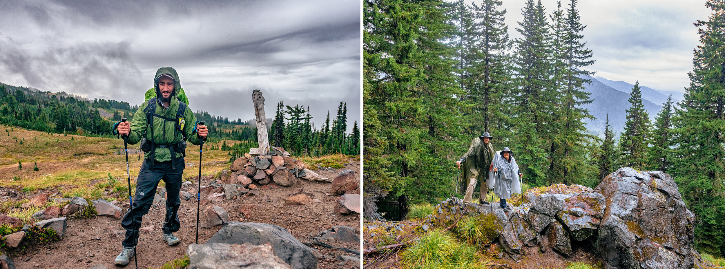 """Left: I met """"Tank"""" who has now hiked the entirety of the Pacific Crest Trail. Right: I met up with Russell and Mafer, who were the 2 others still left from our group, and we hiked back to the parking lot together."""