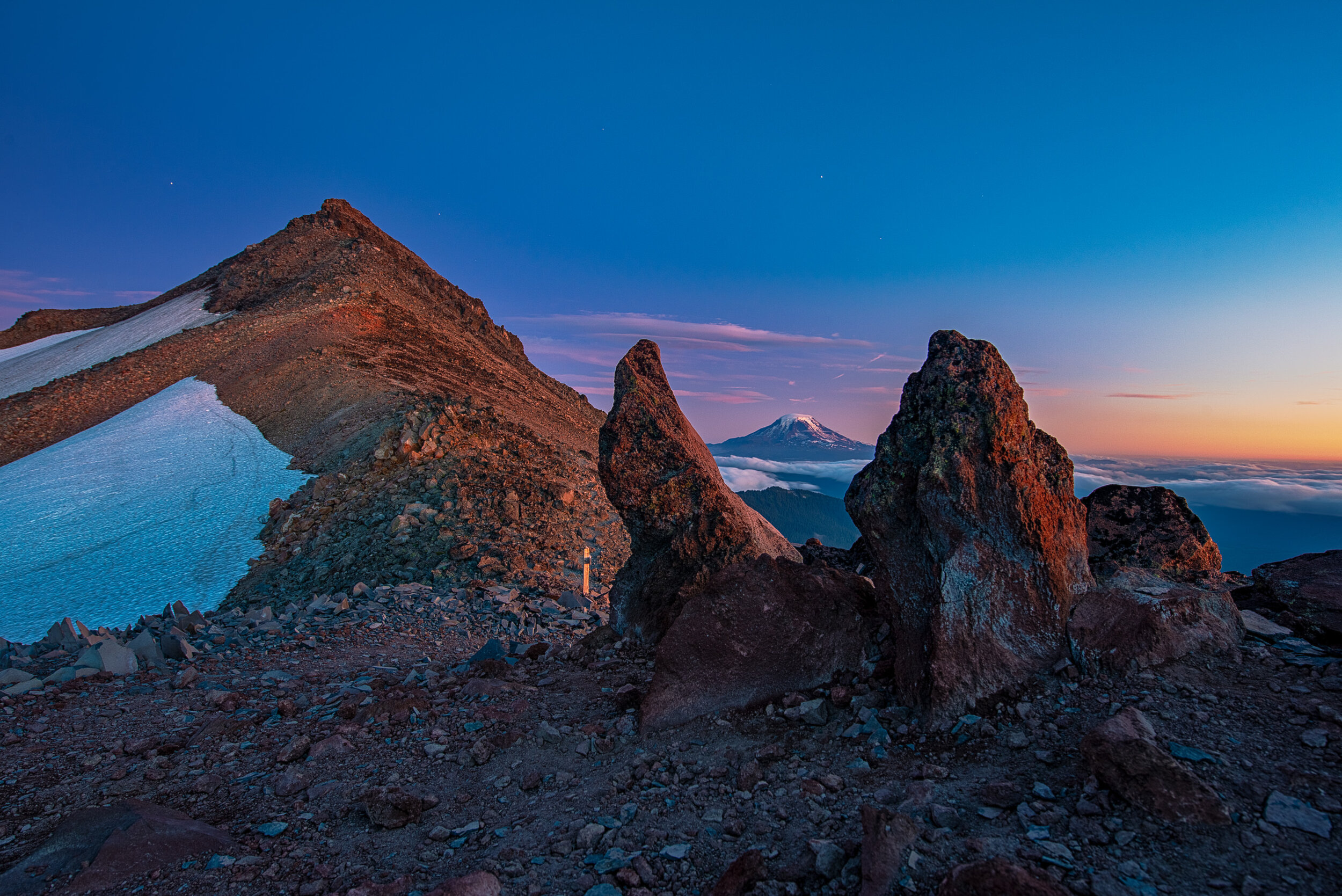 This is just about the reverse perspective of the panoramic shot above but at sunset. Mt Adams in the background.