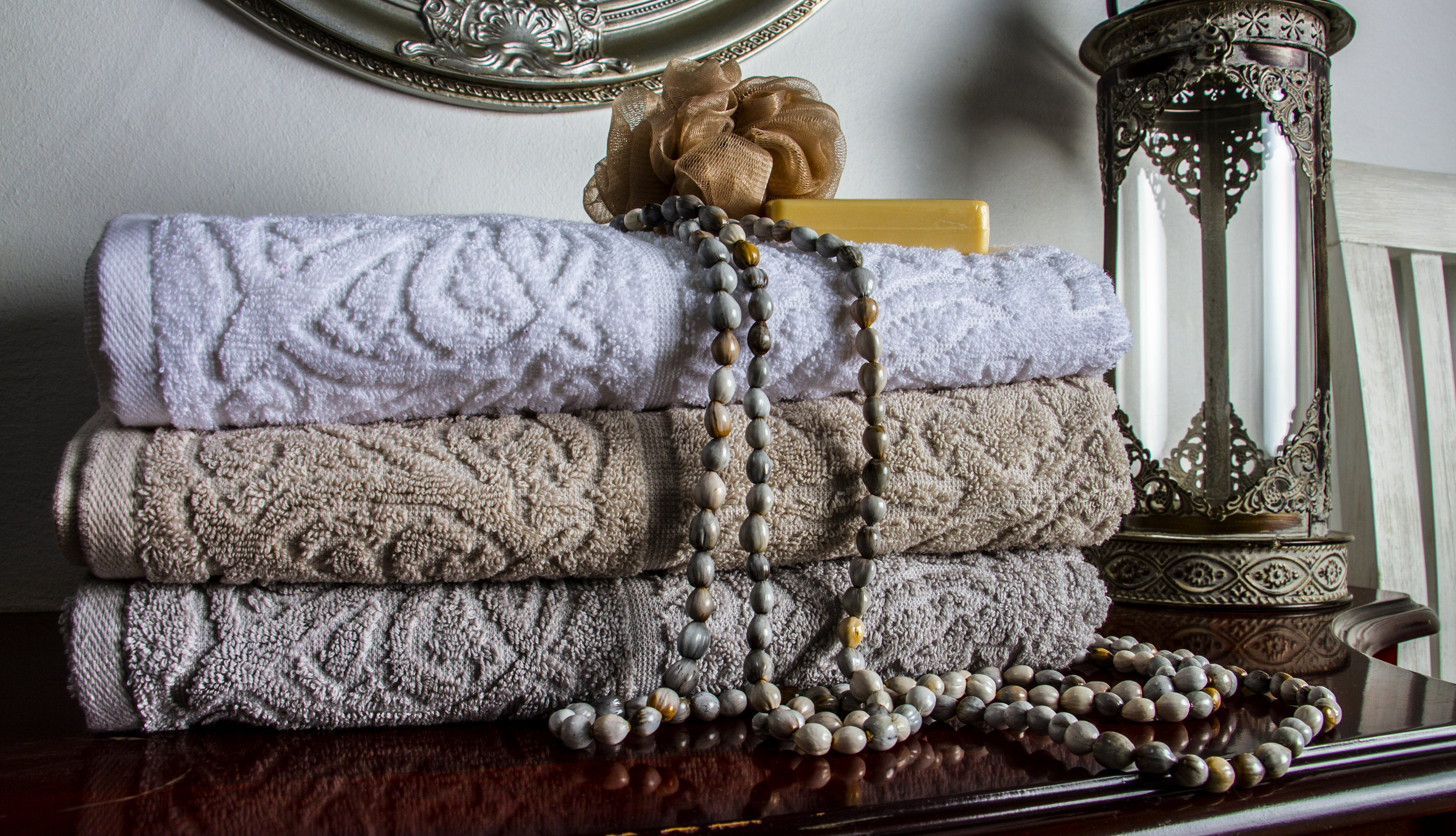 SPA  Relax in your sauna or step out of a shower in these luxurious Terry Towels. Thick, soft and thirsty 100% cotton towels will wrap you in warmth while absorbing moisture. Pamper yourself in the luxury you deserve