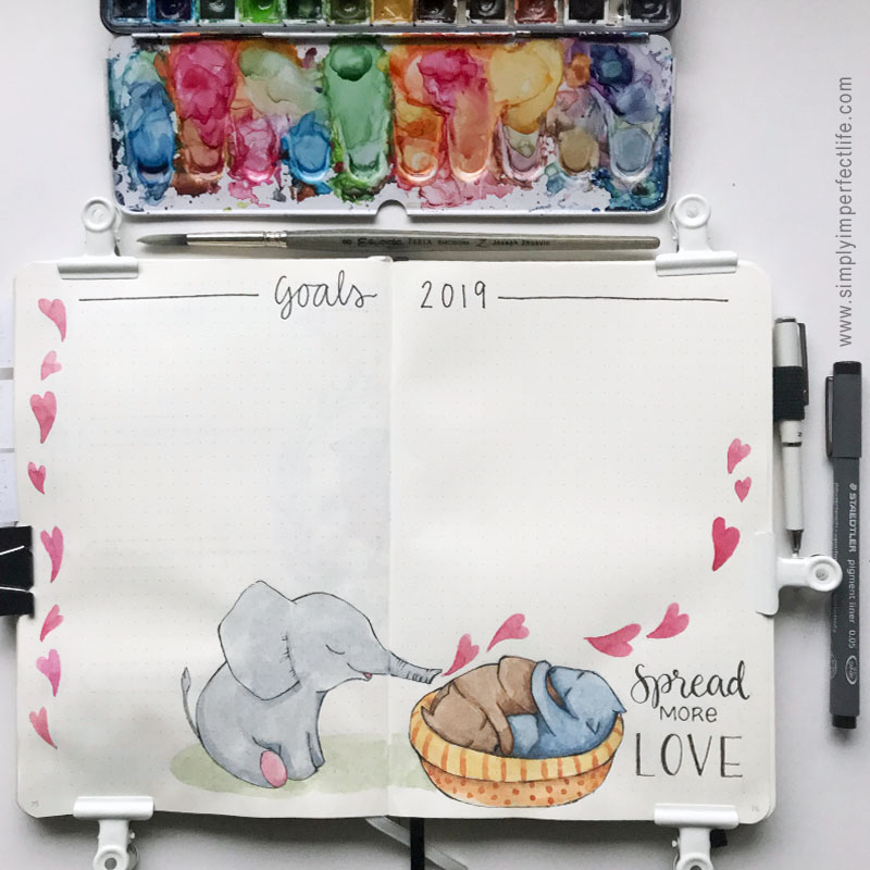 Bullet Journal: December 2018 Goals 2019 'Spread More Love' by Mariana : Simply Imperfect Life