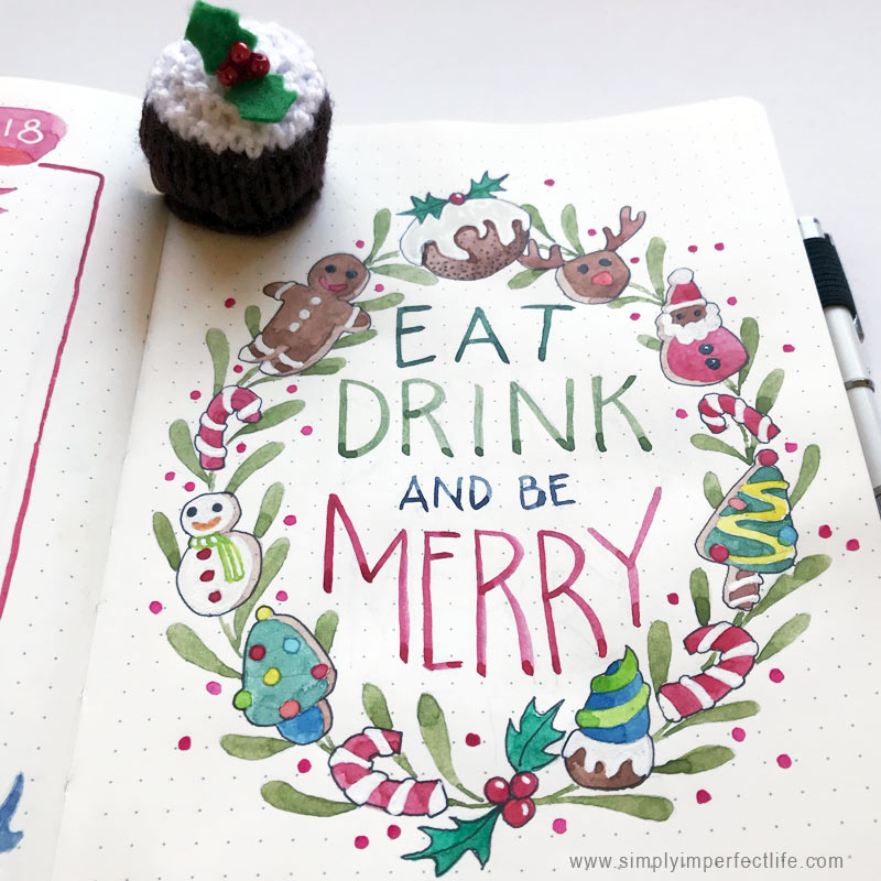 Bullet Journal: December 2018 Christmas sweets spread by Mariana : www.simplyimperfectlife.com