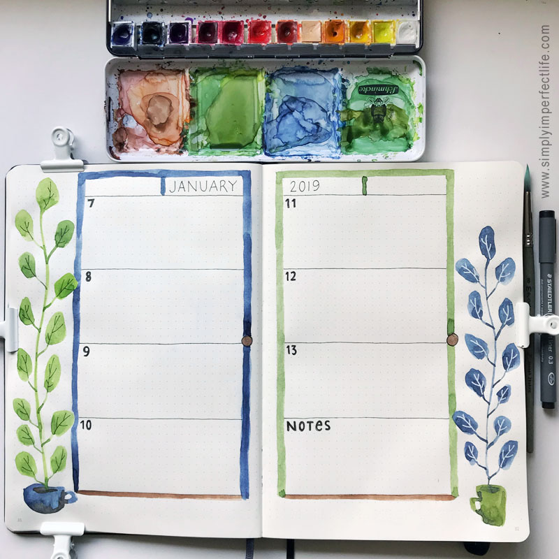 Bullet Journal: January 2019 week 2 by Mariana :  www.simplyimperfectlife.com