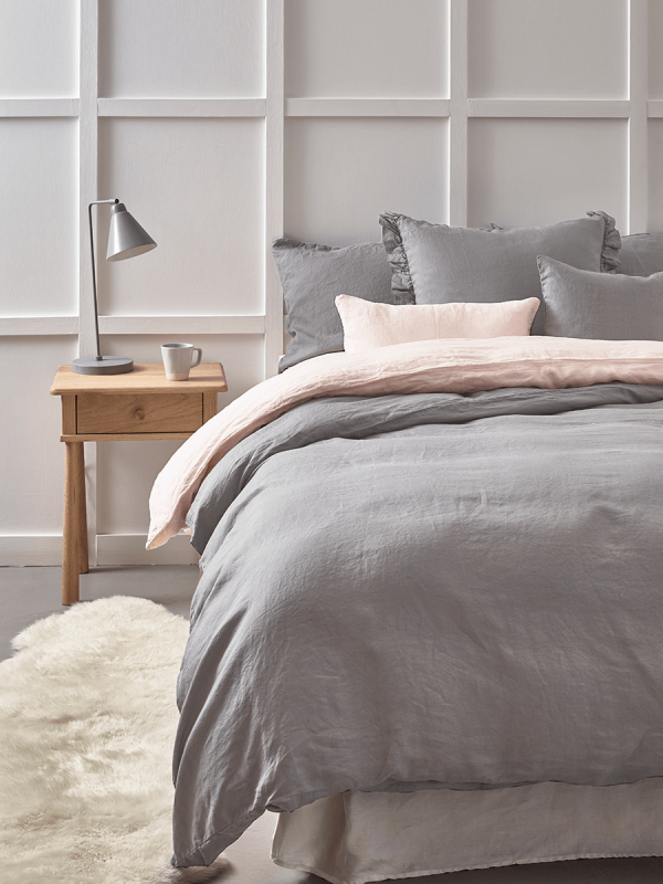 Rustic Washed Linen Smoke Grey from Cox & Cox