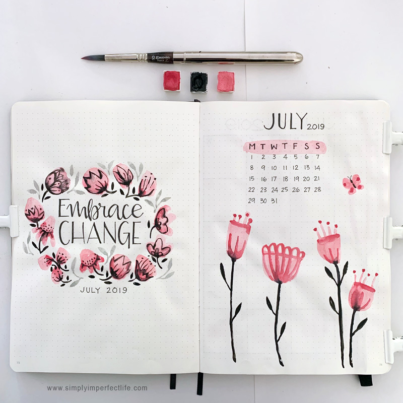 July bullet planner cover spread by Mariana at www.simplyimperfectlife.com