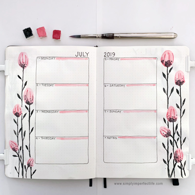 July bullet planner week 1 spread by Mariana at www.simplyimperfectlife.com