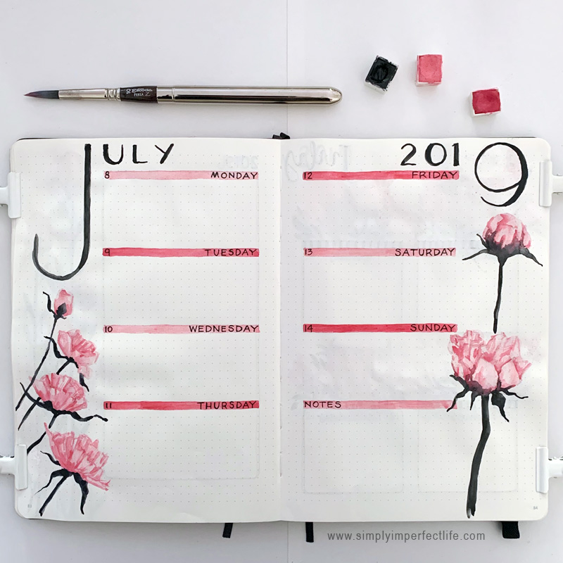 July bullet planner week 2 spread by Mariana at www.simplyimperfectlife.com