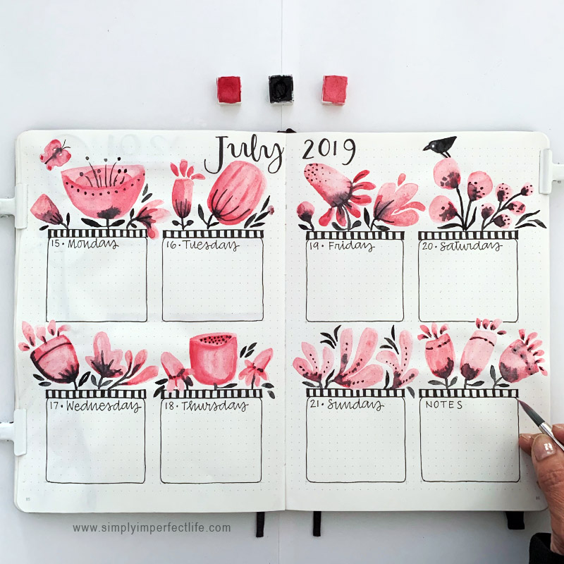 July bullet planner week 3 spread by Mariana at www.simplyimperfectlife.com