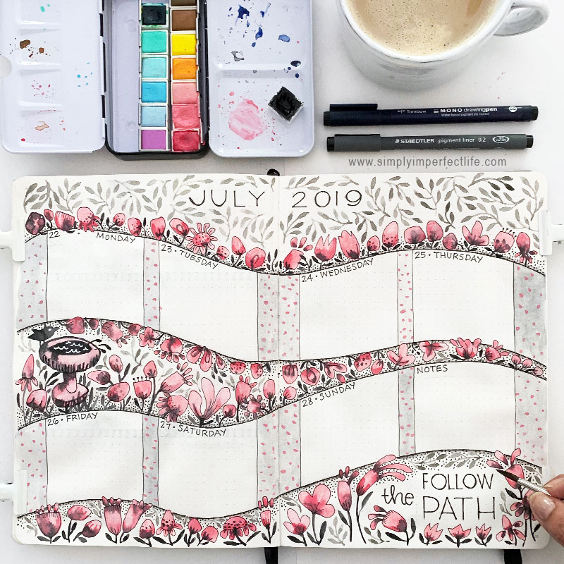 July bullet planner week 4 spread by Mariana at www.simplyimperfectlife.com