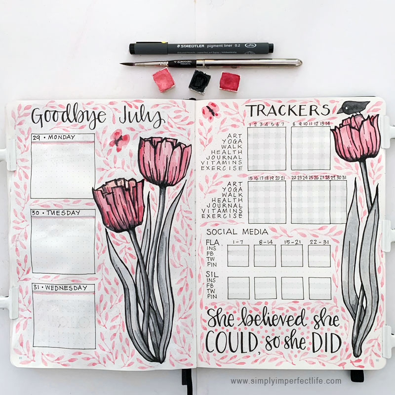 July bullet planner week 5/goodbye spread & trackers by Mariana at www.simplyimperfectlife.com