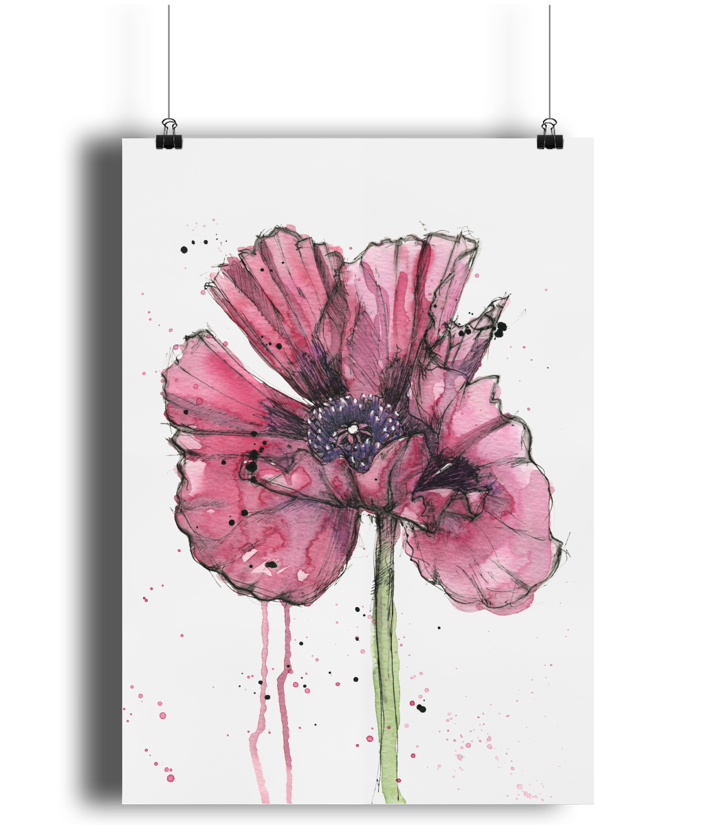Inky Poppy art print by MarianaBlackDesigns.png