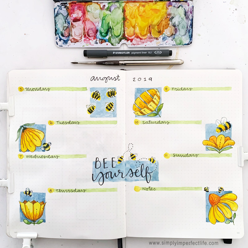 August bullet planner Week 2 spread by Mariana at  www.simplyimperfectlife.com