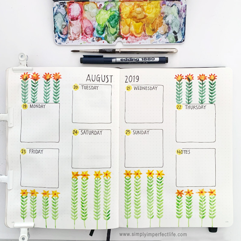 August bullet planner Week 4 spread by Mariana at  www.simplyimperfectlife.com