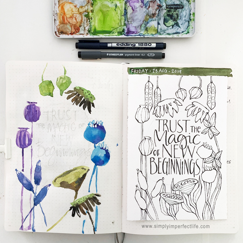 September 2019 bullet journal prep sketches by Mariana at  www.simplyimperfectlife.com
