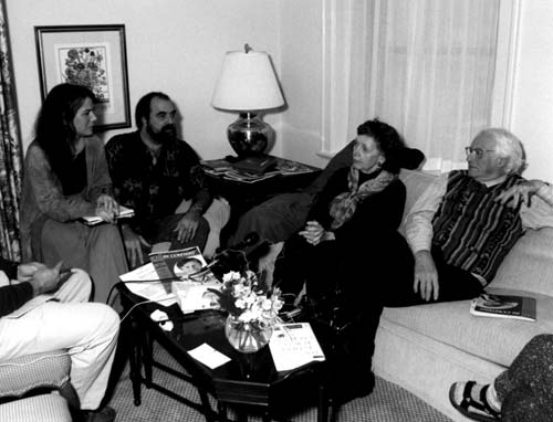 Left to right:    Wind Hughes, Christopher Love, Marion Woodman, Robert Bly (Photo by Linda Wolf)