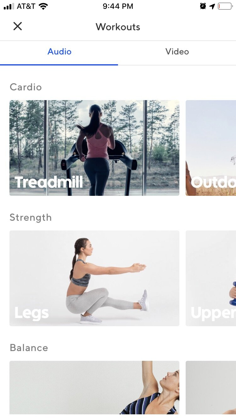 Scroll down on your ClassPass app to access a ton of audio and video workouts for free!