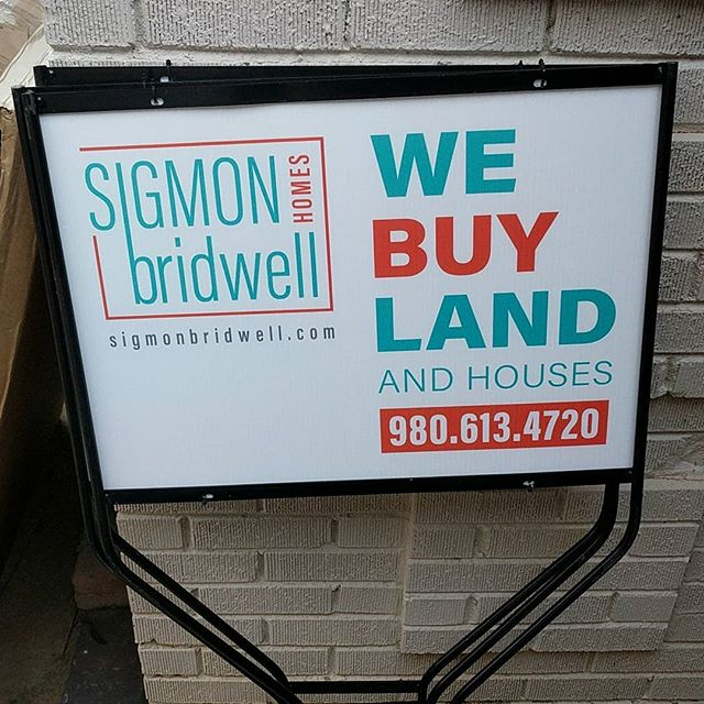 Getting our new yard signs ready!  Looking to sell LAND or a HOUSE?  Give us a call today at 980-613-4720 #sigmonbridwell #webuyland #webuyhouses