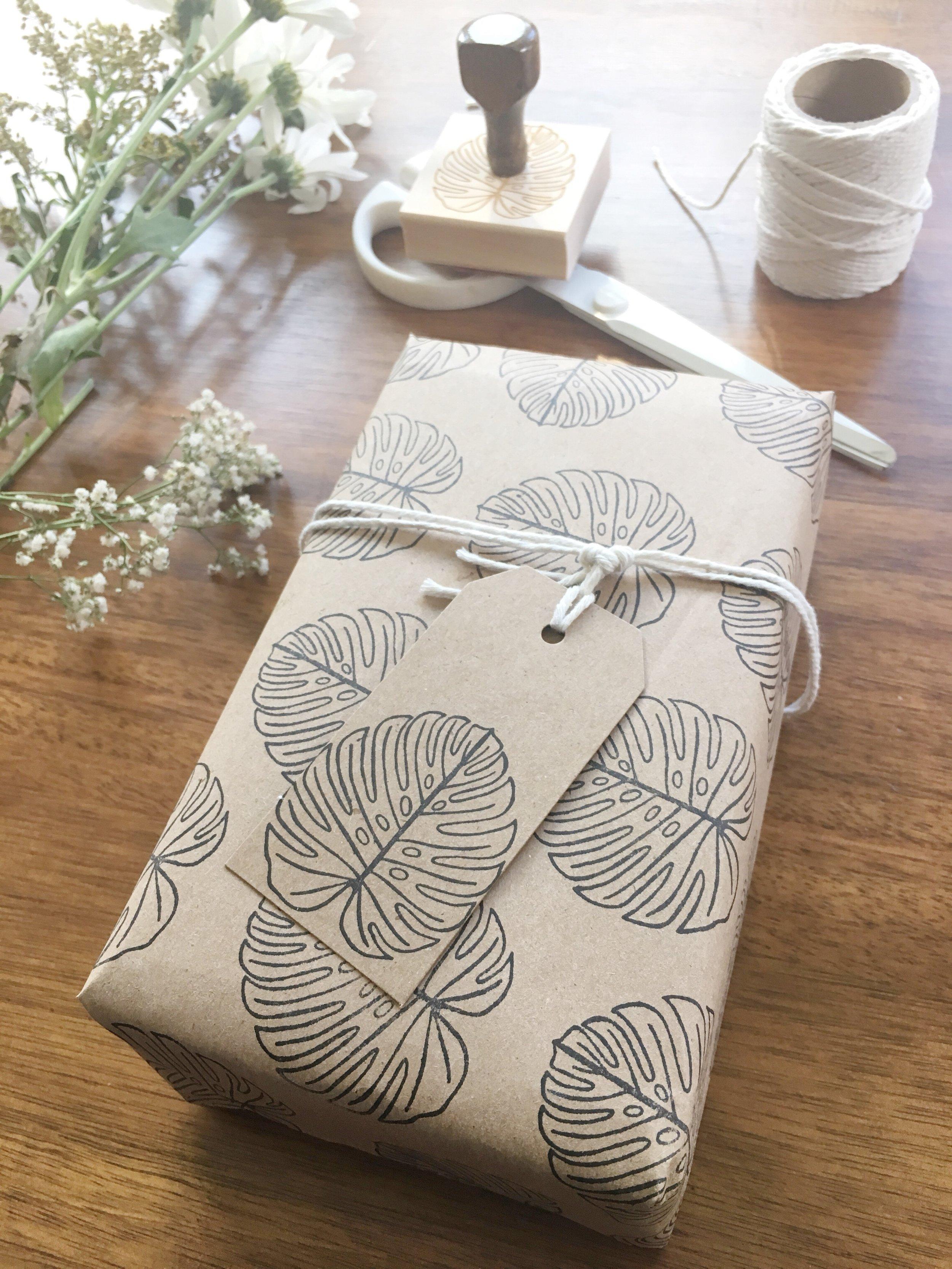 Monstera Leaf Rubber Stamp DIY Gift Wrap Kraft Packaging by Creatiate