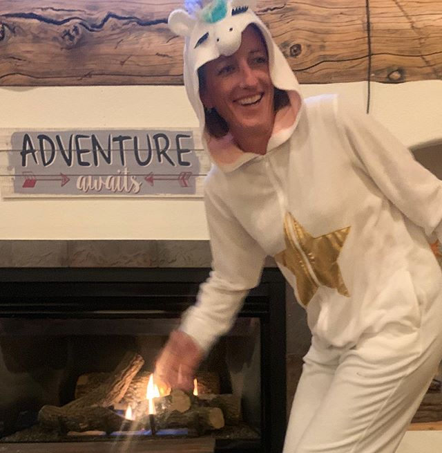 When winter hits hard, you throw on a 🦄 onesie, and suddenly discover your ability to shoot lasers from your fingertips.  #adventureawaits 😂 #winterparkcolorado #winterhascome