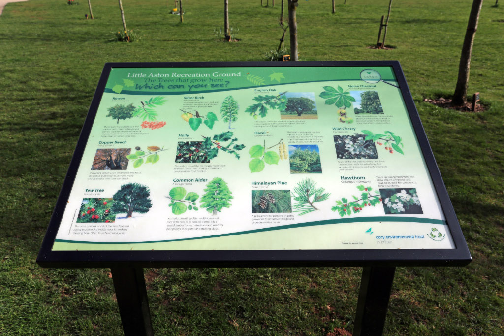 There are a number of lecterns on the field giving information about the flora and fauna at the recreation ground