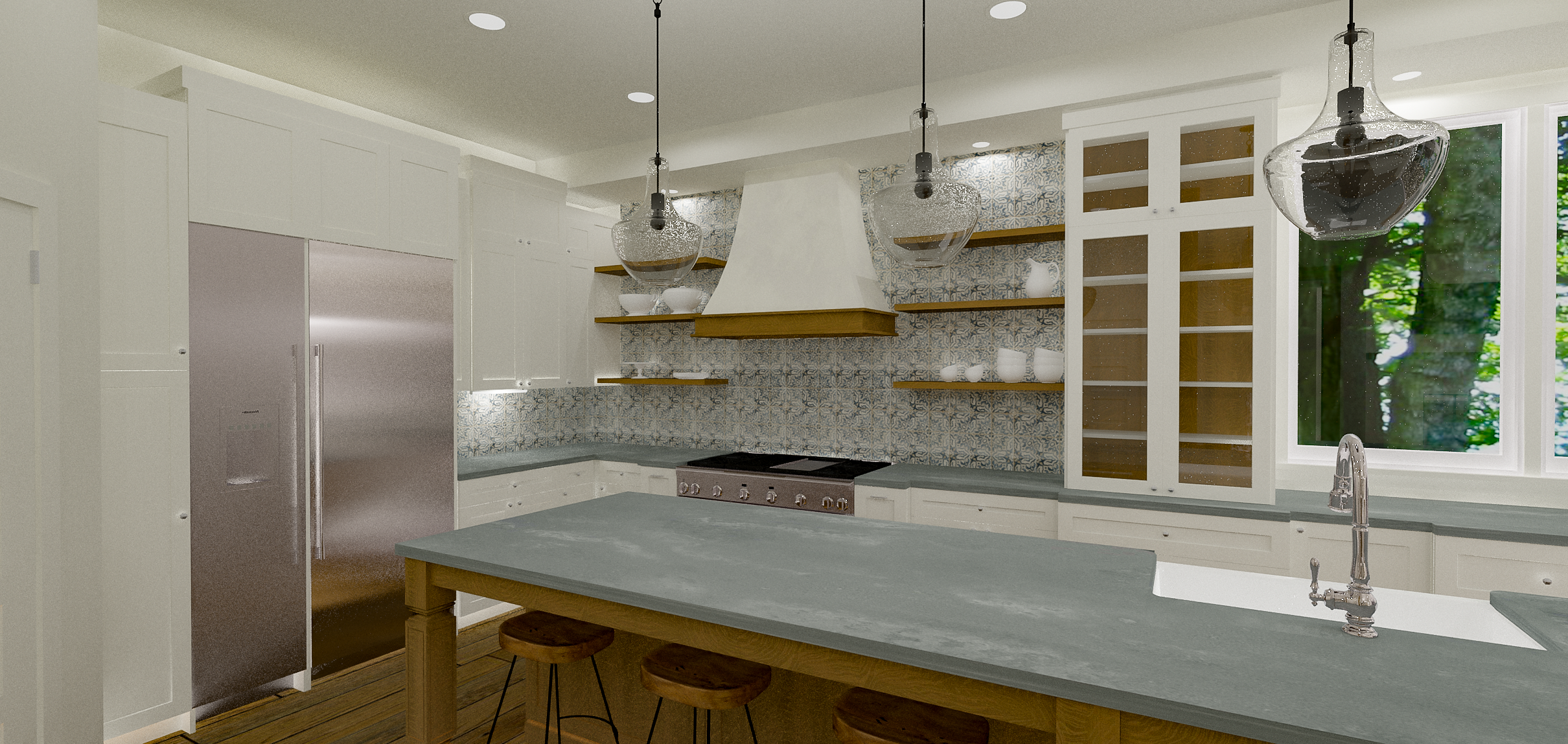 Austin Farmhouse Style Kitchen Rendering | Designed and Rendered by Kelly Fridline Design | Chief Architect X10